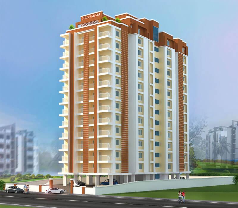 3D View of MRG Sabari Apartments, Punkunnam, Thrissur