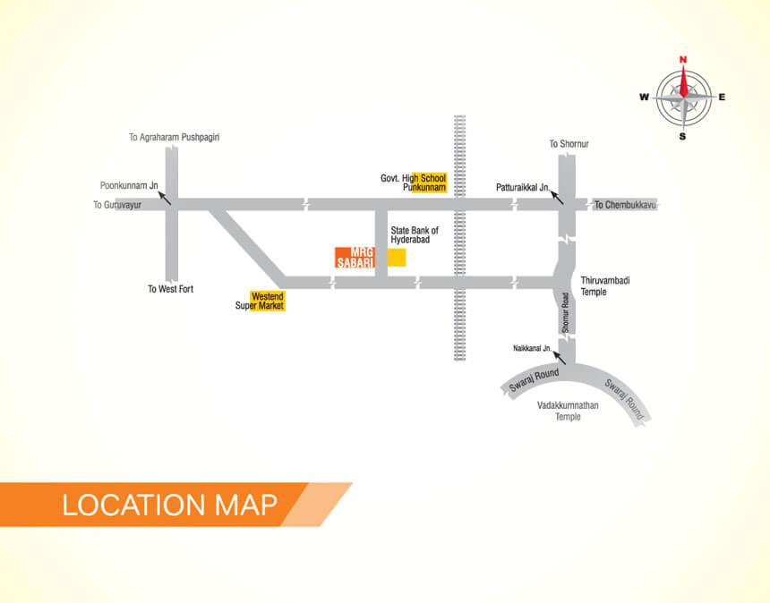 Location of MRG Sabari Apartments, Punkunnam, Thrissur